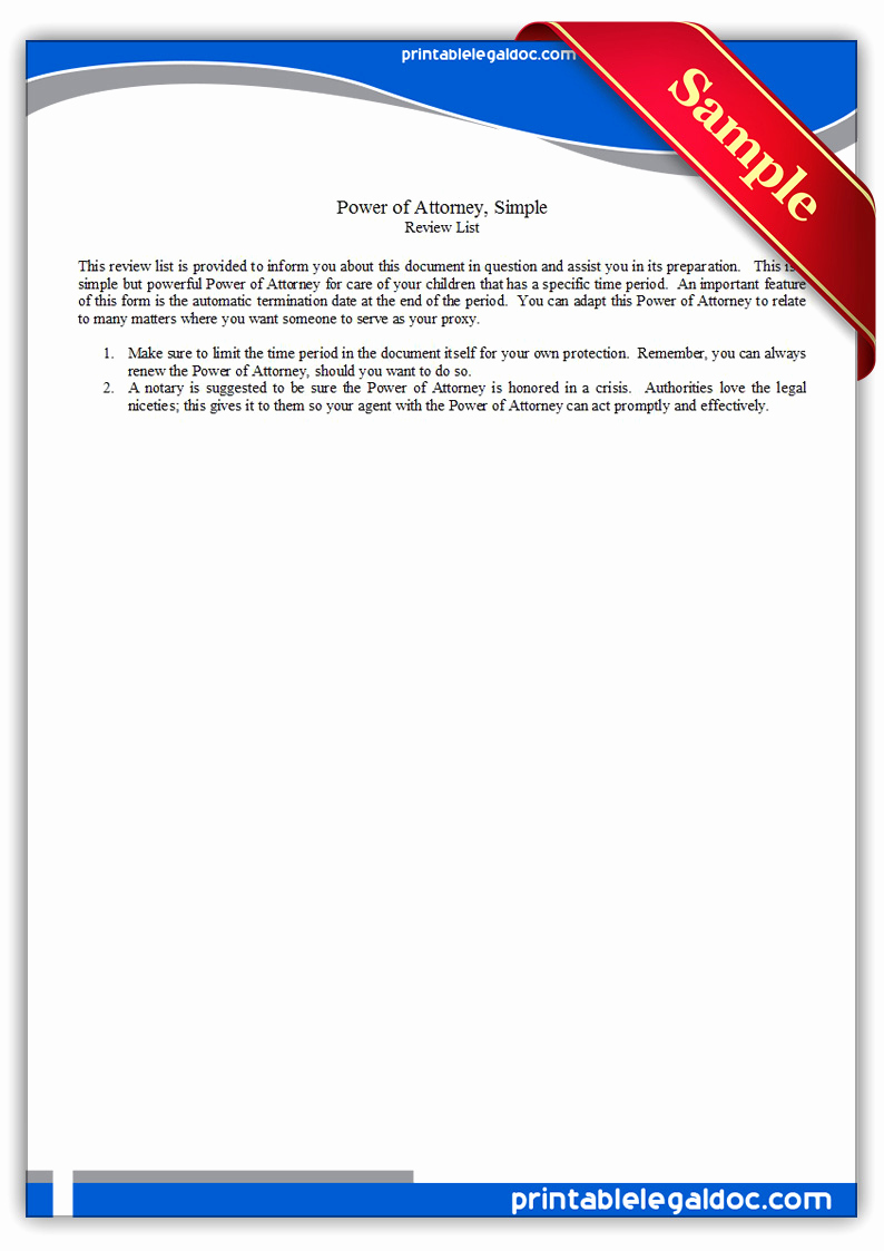 Free Power Of attorney Lovely Free Printable Power attorney Simple form Generic