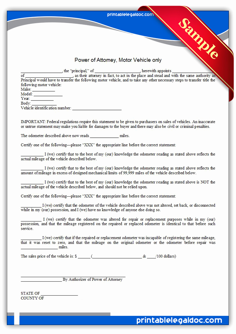 Free Power Of attorney New Free Printable Power attorney Motor Vehicle Ly form