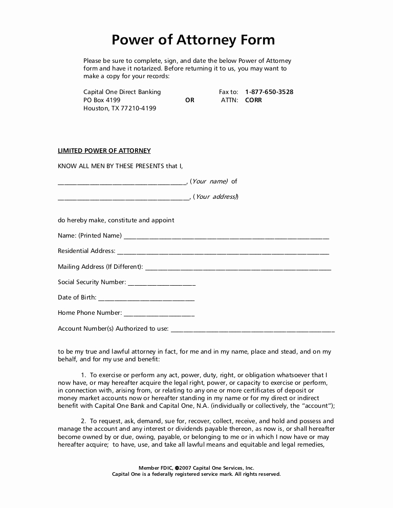 Free Power Of attorney New Power Of attorney form