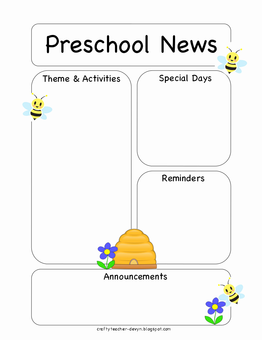 Free Preschool Newsletter Templates New Preschool Bee Newsletter Template