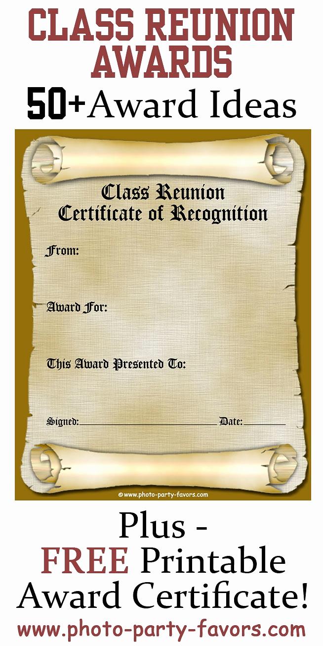 Free Printable Award Certificates Best Of Free Printable Class Reunion Award Certificate with More
