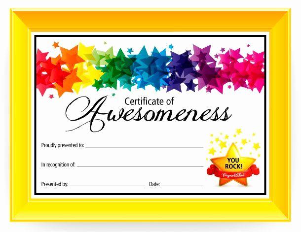 Free Printable Award Certificates Elegant Certificate Of Awesomeness