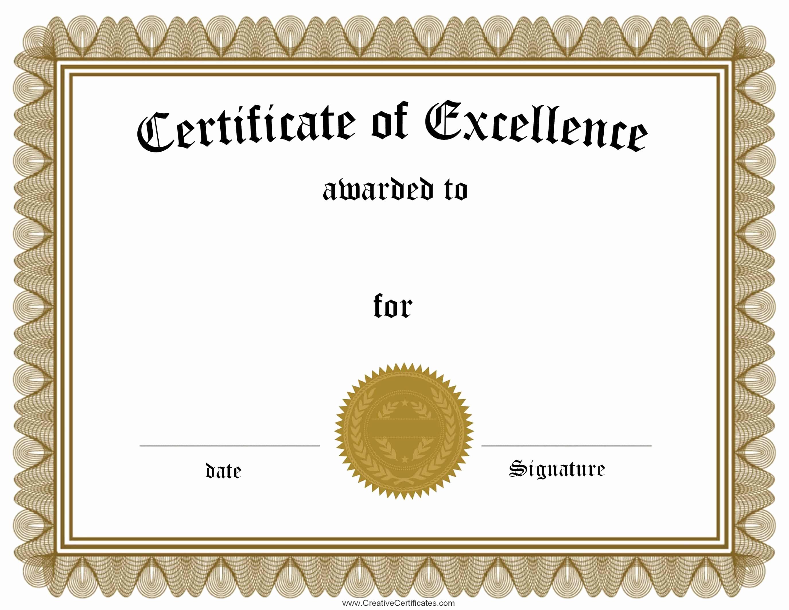 Free Printable Award Certificates Fresh Free Customizable Certificate Of Achievement