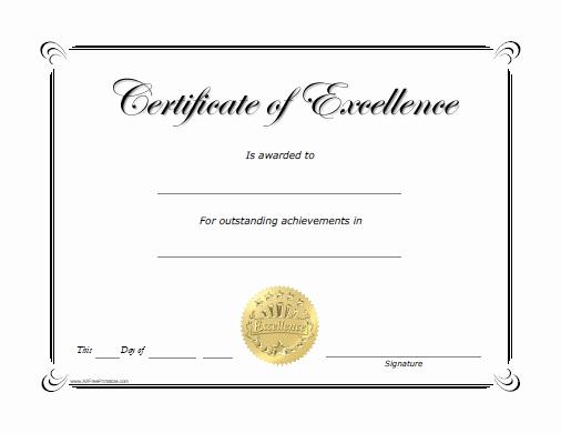 Free Printable Award Certificates Lovely Excellence Award Certificate Free Printable