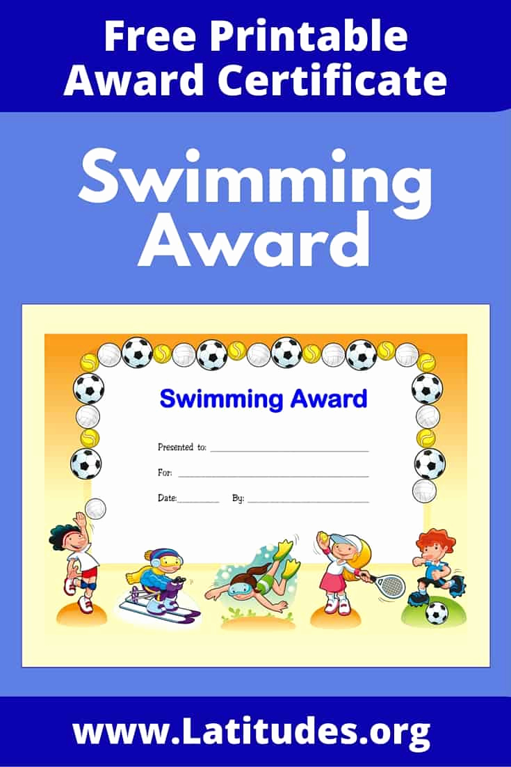 Free Printable Award Certificates Lovely Free Award Certificate for Swimming Primary