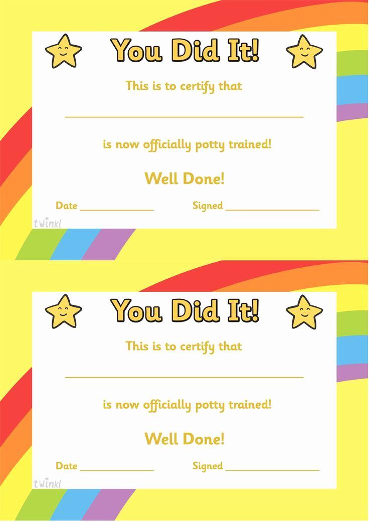 Free Printable Award Certificates Lovely Potty Training Certificate Free Printables
