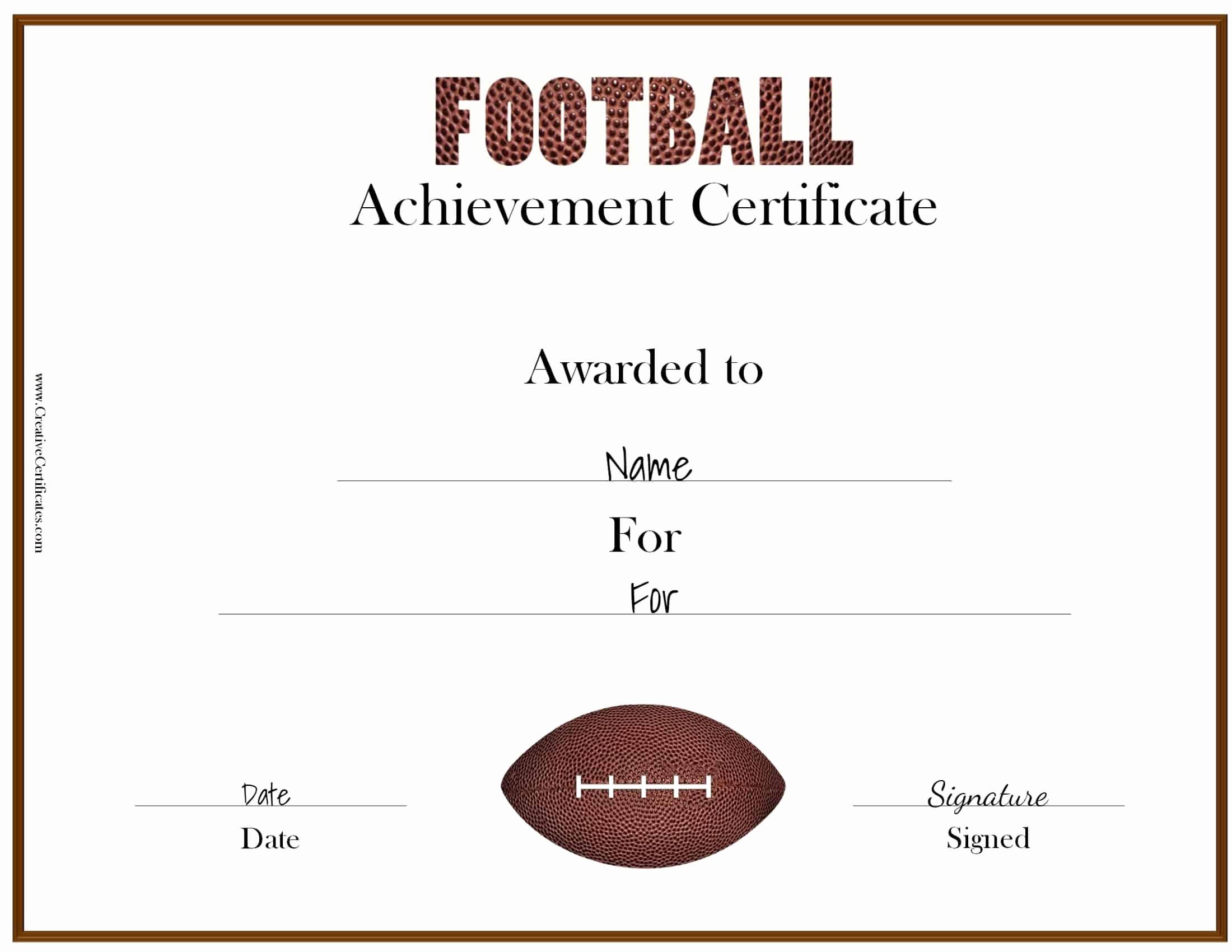 Free Printable Award Certificates Luxury Free Custom Football Certificates
