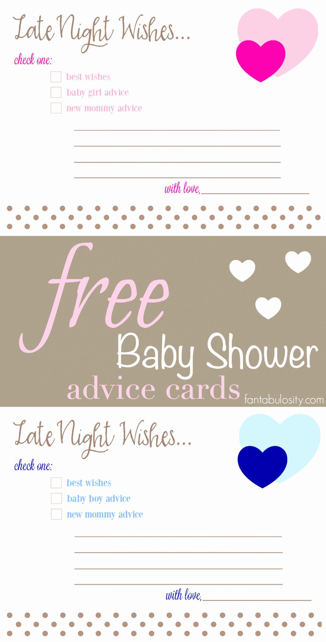 Free Printable Baby Shower Card Elegant Free Printable Baby Shower Advice & Best Wishes Cards