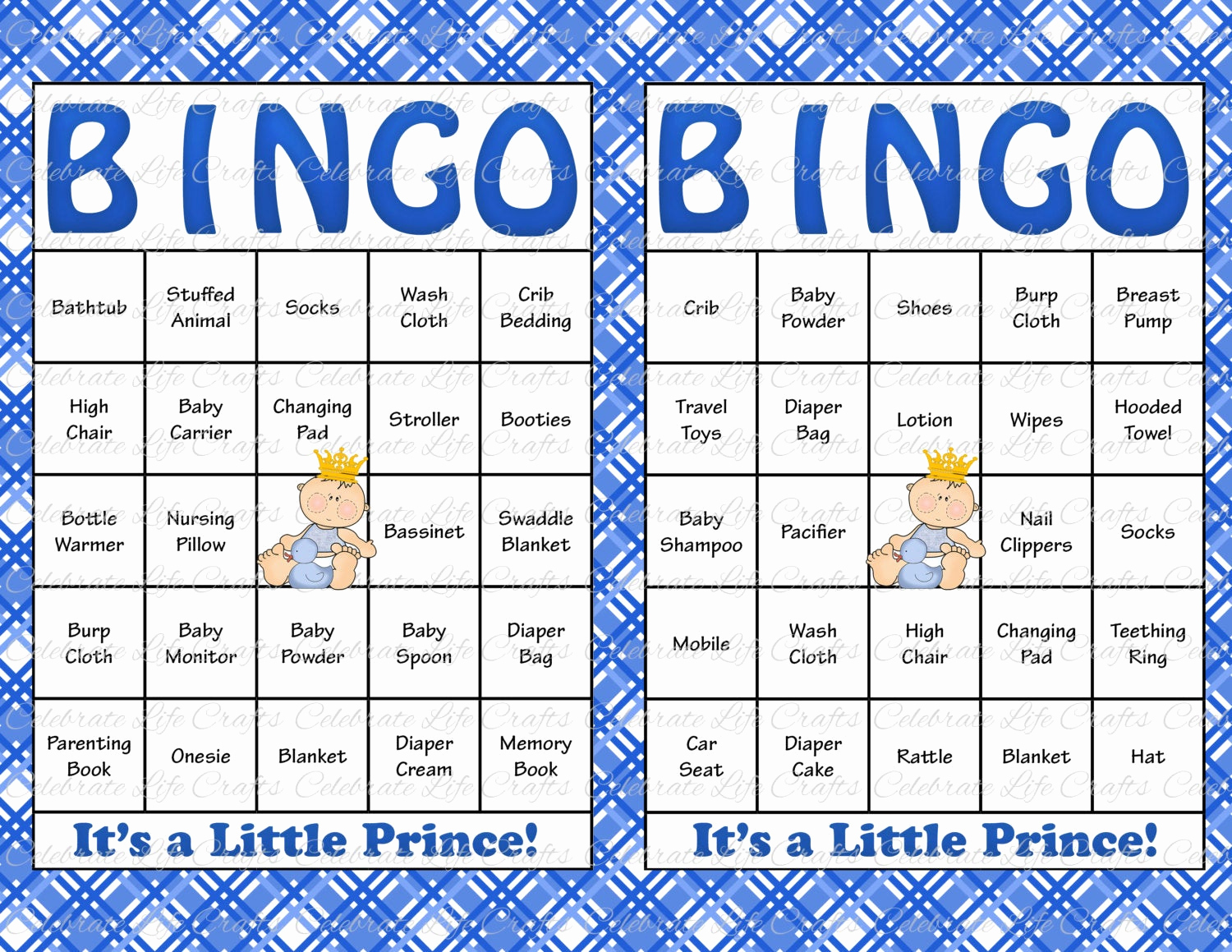 60 baby shower bingo cards printable