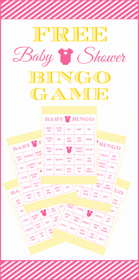 Free Printable Baby Shower Card Lovely Free Baby Shower Bingo Printable Cards for A Girl Baby