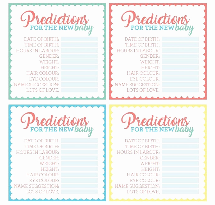 Free Printable Baby Shower Card Luxury Free Printable Baby Shower Prediction Cards