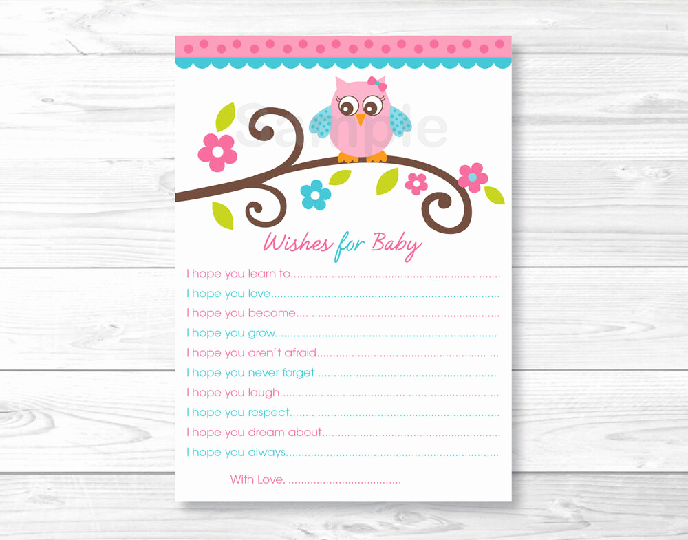 Free Printable Baby Shower Card Unique Pink Owl Blossom Printable Baby Shower Wishes for Baby
