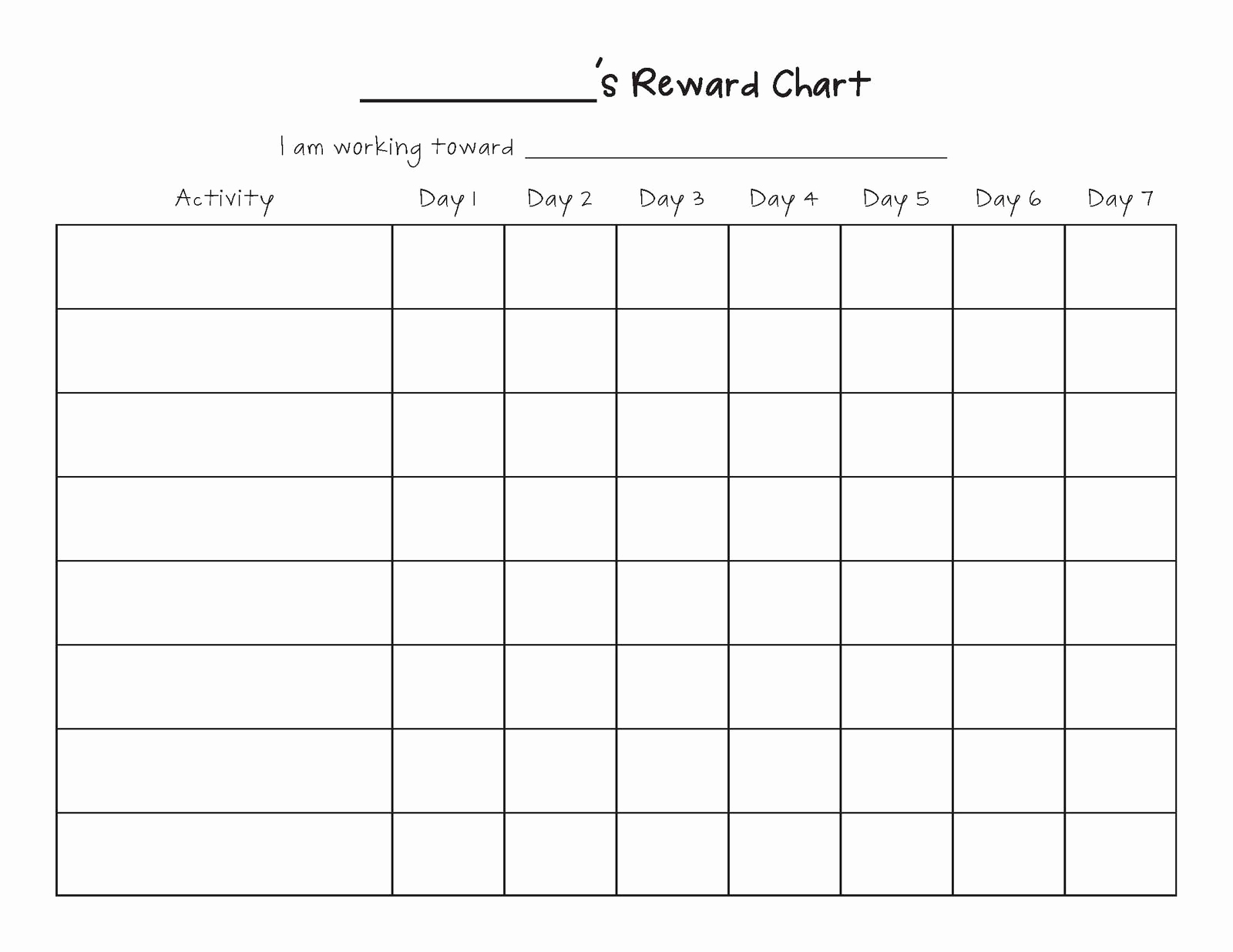 Free Printable Behavior Charts Beautiful Free Printable Blank Charts