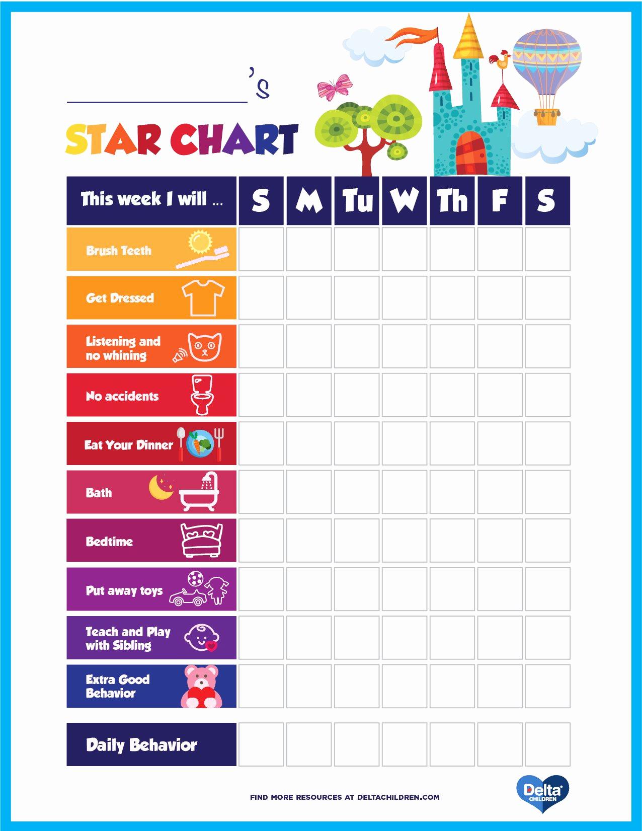 Free Printable Behavior Charts Beautiful Printable Kids' Star Behavior Chart