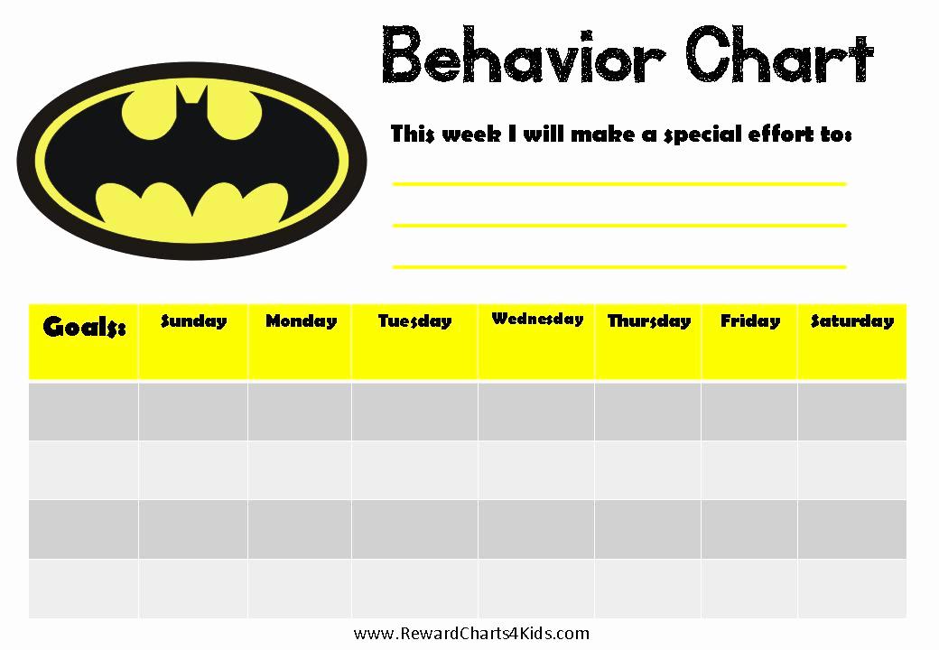 Free Printable Behavior Charts New Batman Behavior Charts