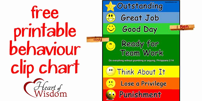 Free Printable Behavior Charts New Free Printable Behavior Chart Just Add One Clothespin Per