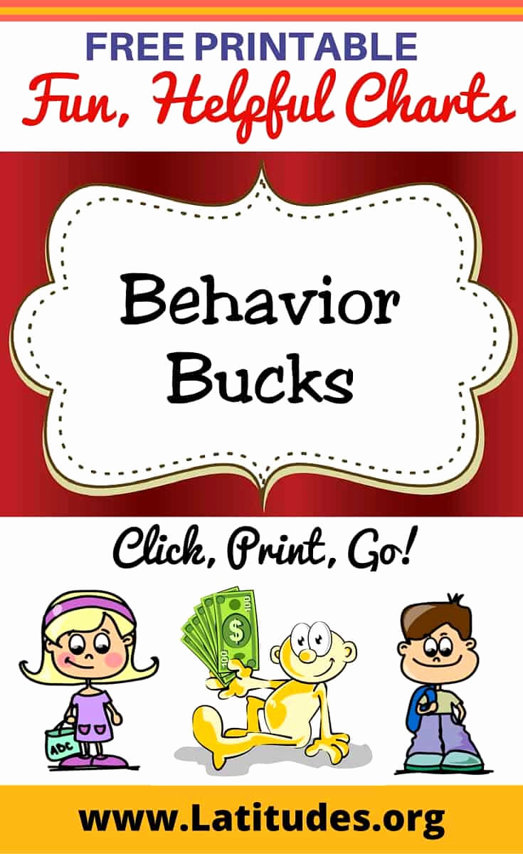 Free Printable Behavior Charts Unique Free Printable Behavior Bucks for Teachers & Students
