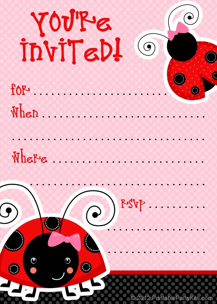 Free Printable Birthday Invitation Templates Awesome 1 Free Printable Ladybug Invitation Blank Template 2