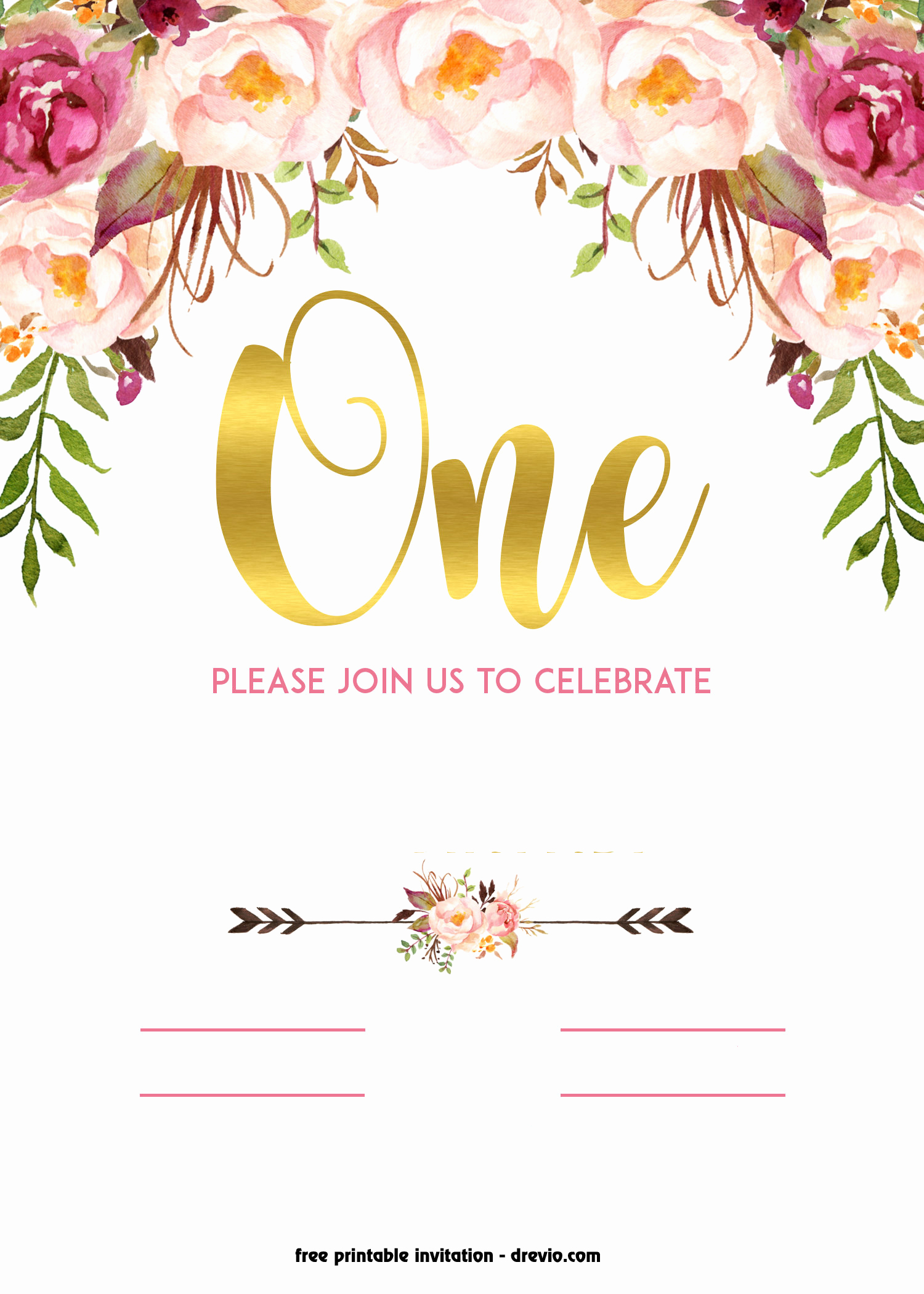 Free Printable Birthday Invitation Templates Awesome Free Printable 1st Birthday Invitation – Vintage Style