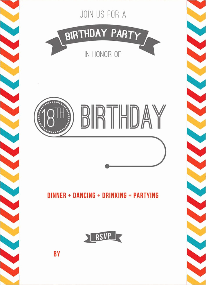 Free Printable Birthday Invitation Templates Beautiful Free Printable 18th Birthday Invitation