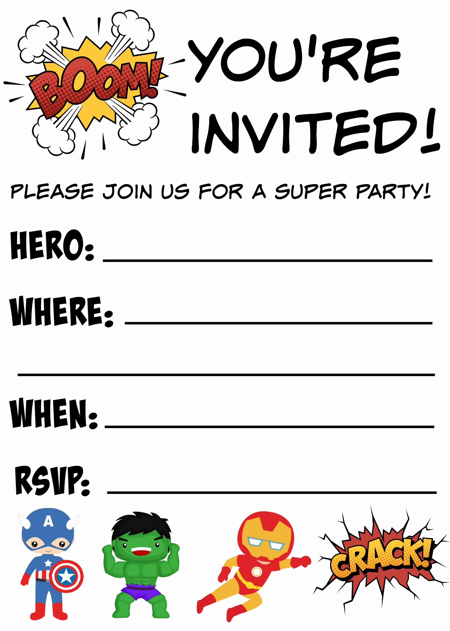 Free Printable Birthday Invitation Templates Best Of 12 Free Printable Blank Superhero Birthday Invitation