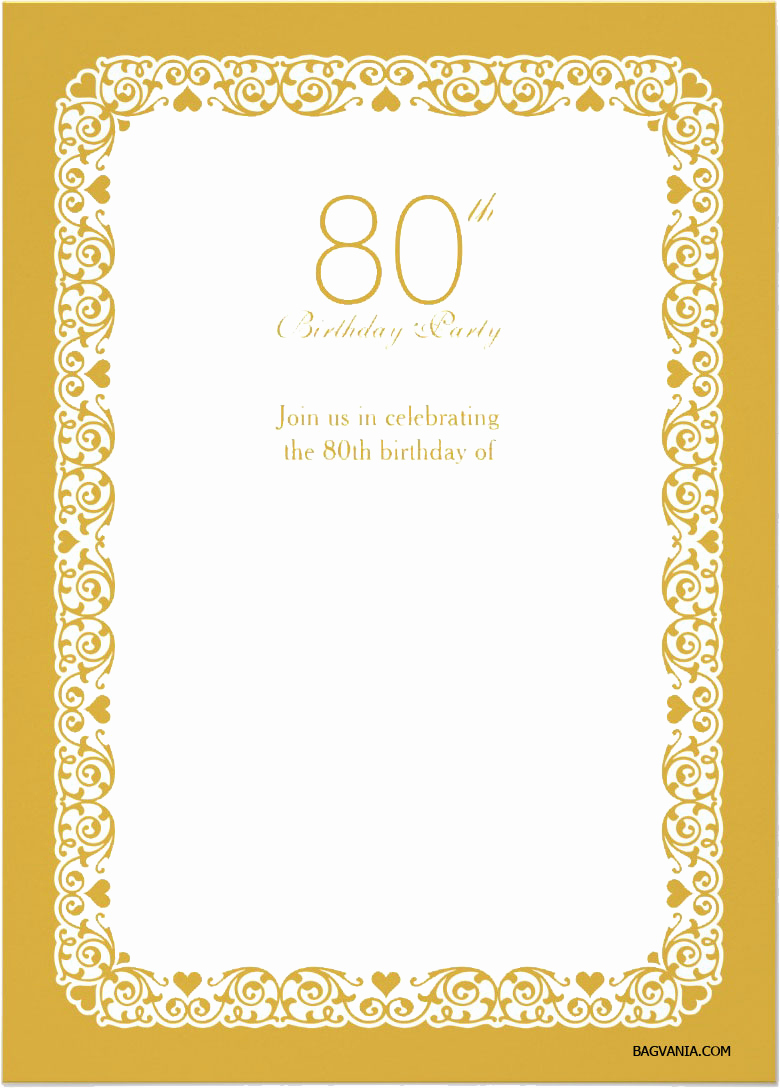 Free Printable Birthday Invitation Templates Best Of Free Printable 80th Birthday Invitations – Bagvania Free
