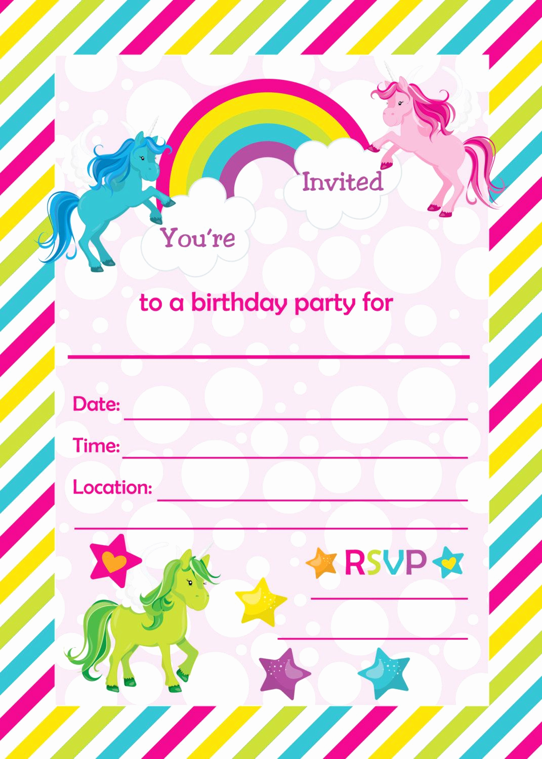 Free Printable Birthday Invitation Templates Inspirational Fill In Birthday Party Invitations Printable Rainbows and