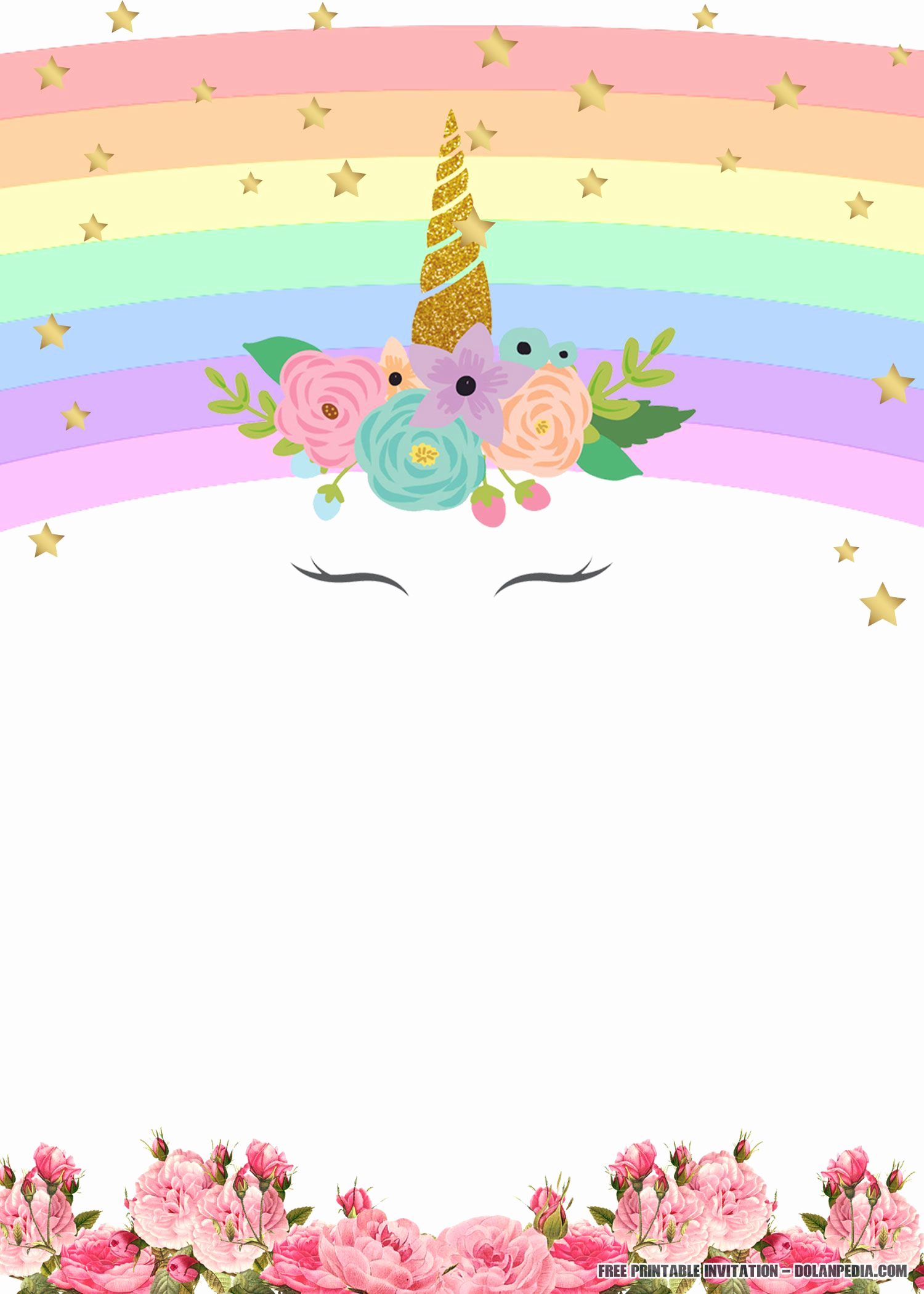 Free Printable Birthday Invitation Templates Lovely Free Printable Unicorn Rainbow Invitation