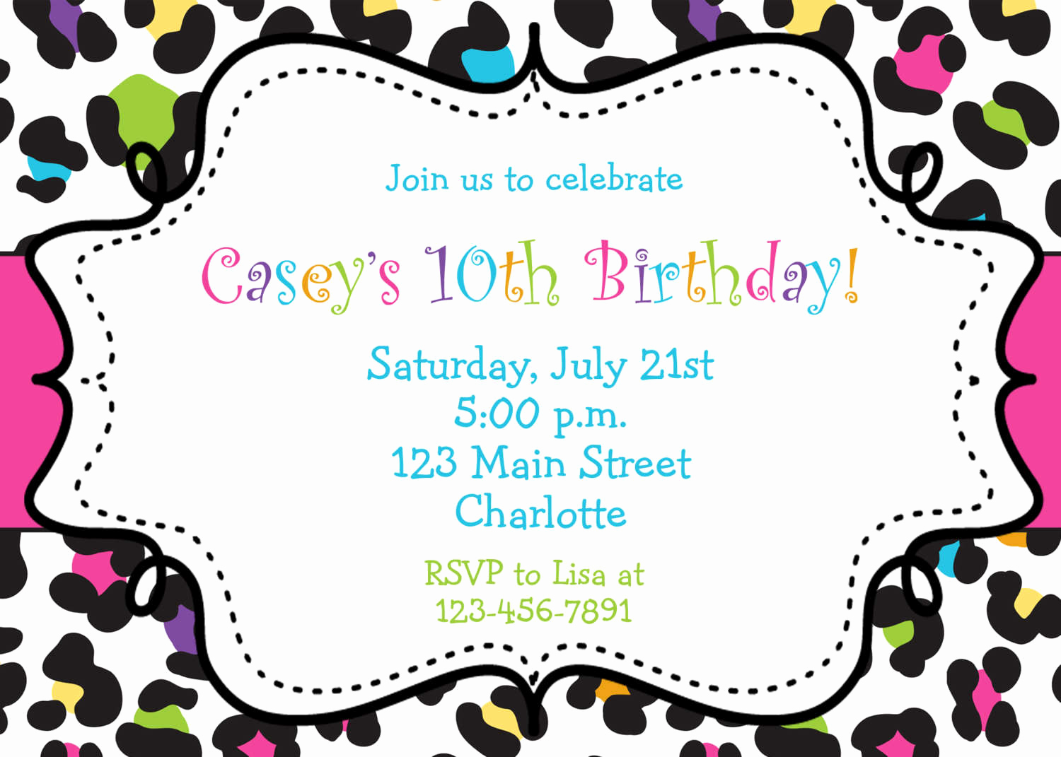 Free Printable Birthday Invitation Templates New Birthday Invitations Browsing Exclusive Animal Print themed