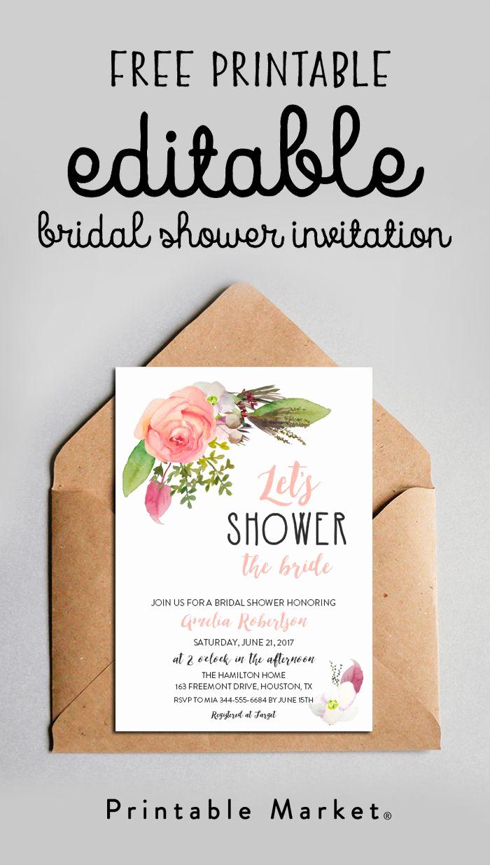 Free Printable Bridal Shower Invitations Awesome Free Editable Bridal Shower Invitation Watercolor Flowers