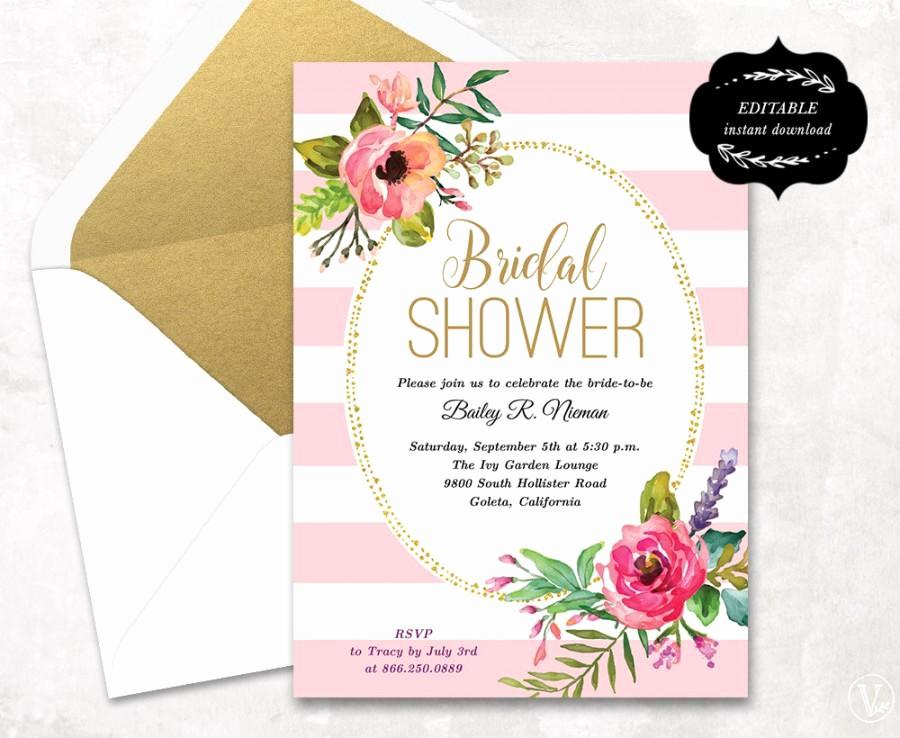Free Printable Bridal Shower Invitations Beautiful Blush Pink Floral Bridal Shower Invitation Template