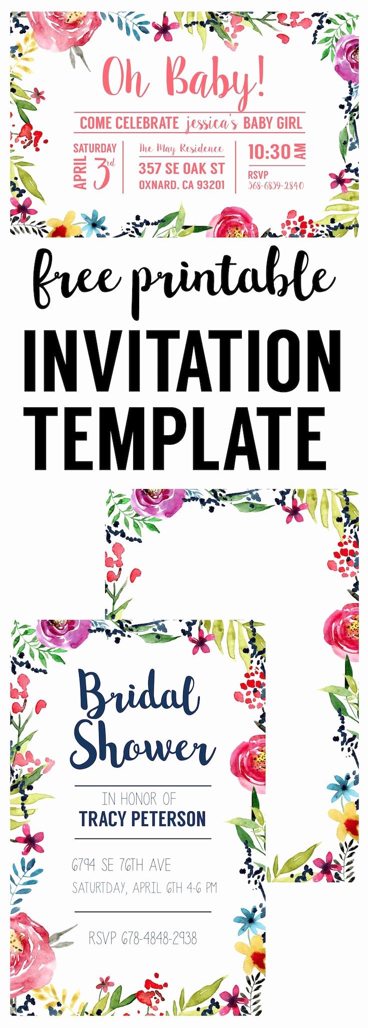 Free Printable Bridal Shower Invitations Elegant Floral Borders Invitations Free Printable Invitation