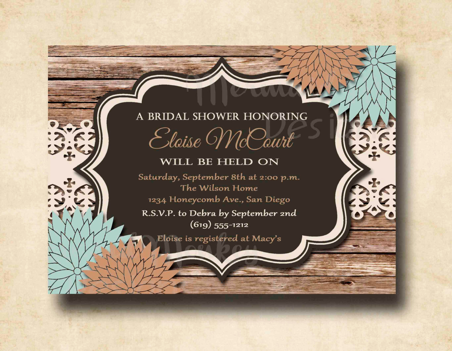 Free Printable Bridal Shower Invitations Elegant Rustic Bridal Shower Invitation Wedding by