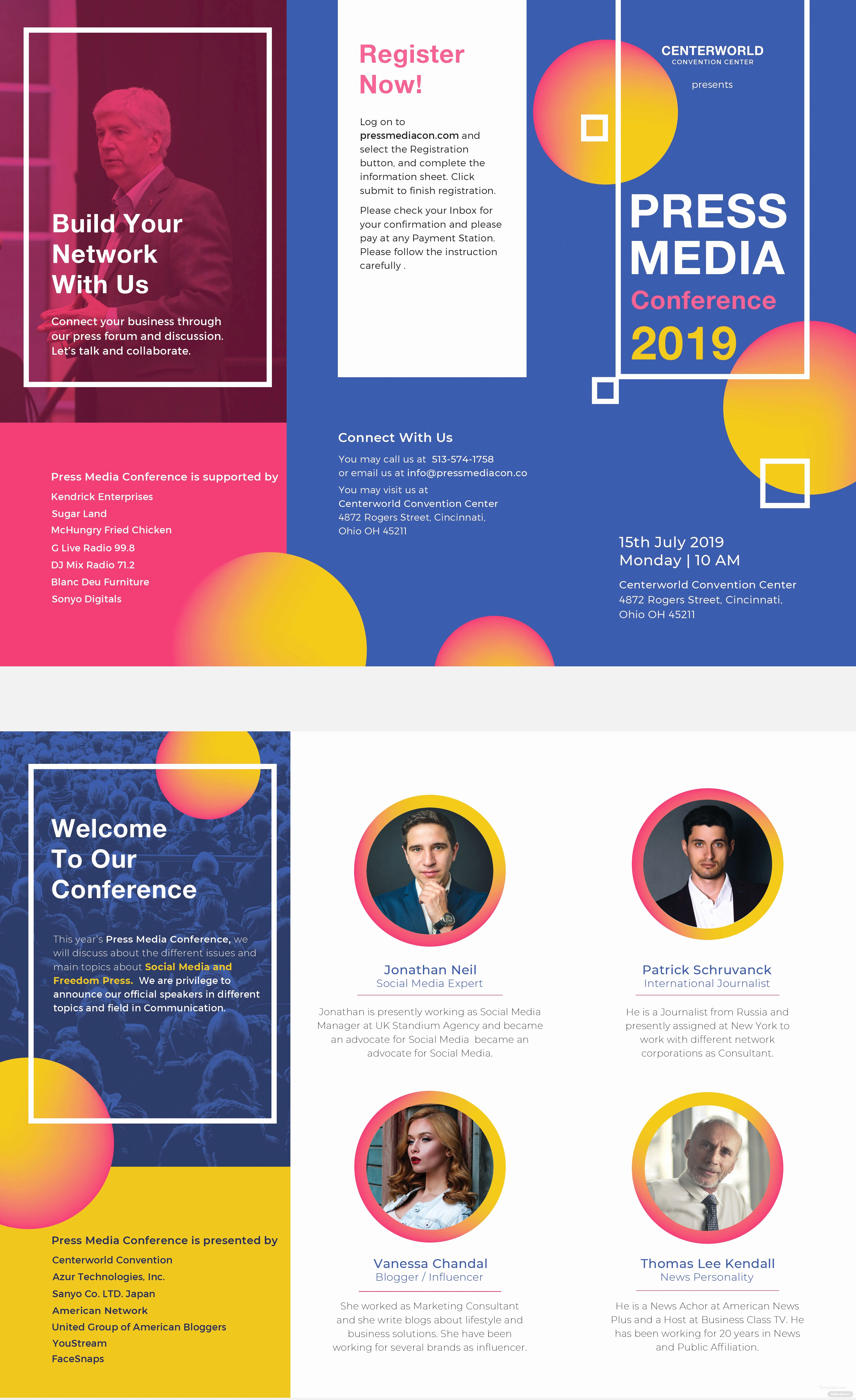 Free Printable Brochure Templates Awesome Free Conference Brochure Template In Psd Illustrator