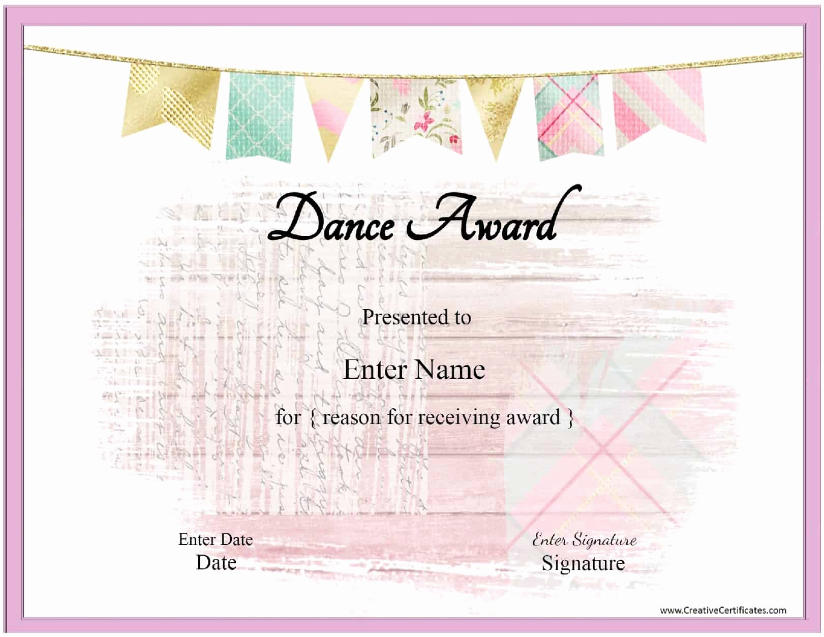 Free Printable Certificate Templates Elegant Free Dance Certificate Template Customizable and Printable