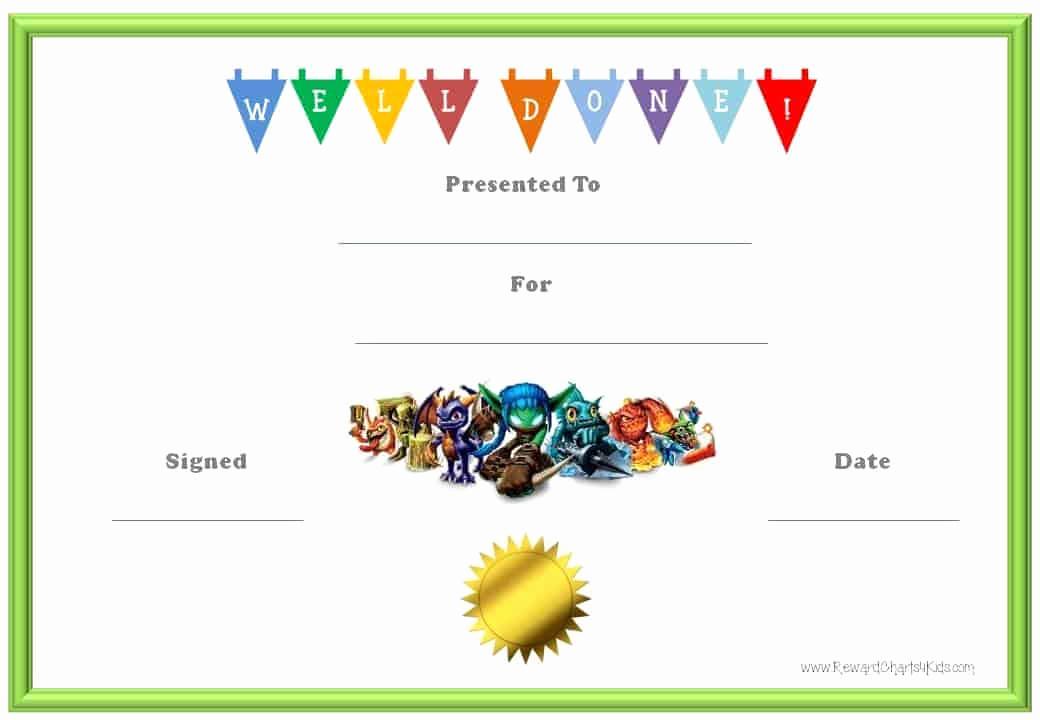 Free Printable Certificate Templates Fresh Skylanders Behavior Charts and Certificates