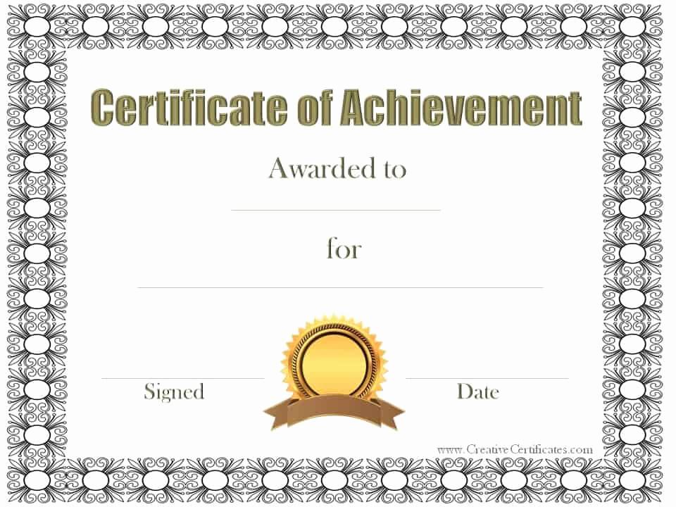 Free Printable Certificate Templates Unique Free Customizable Certificate Of Achievement