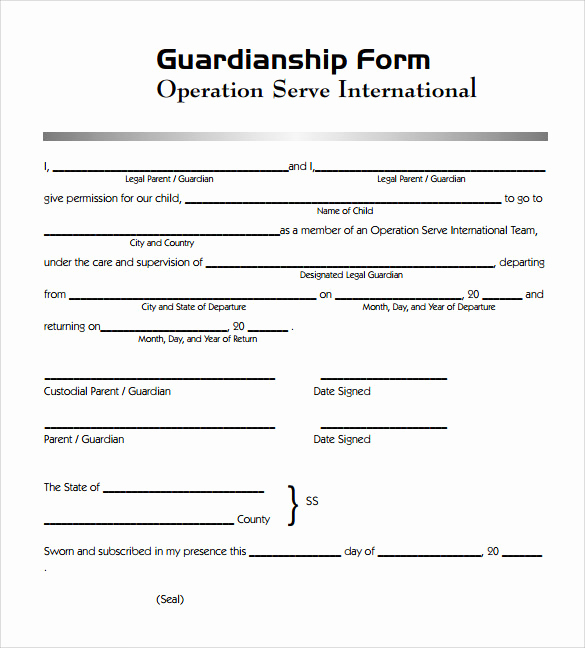 Free Printable Child Guardianship forms Awesome Sample Legal Guardianship form 7 Download Documents In