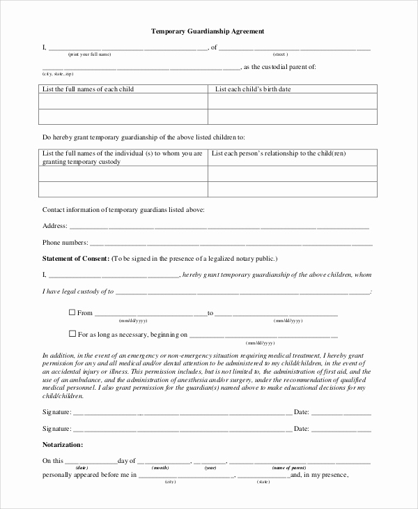 Free Printable Child Guardianship forms Fresh 10 Sample Temporary Guardianship forms Pdf