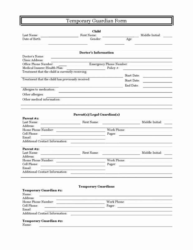 Free Printable Child Guardianship forms Fresh Temporary Guardianship Agreement form