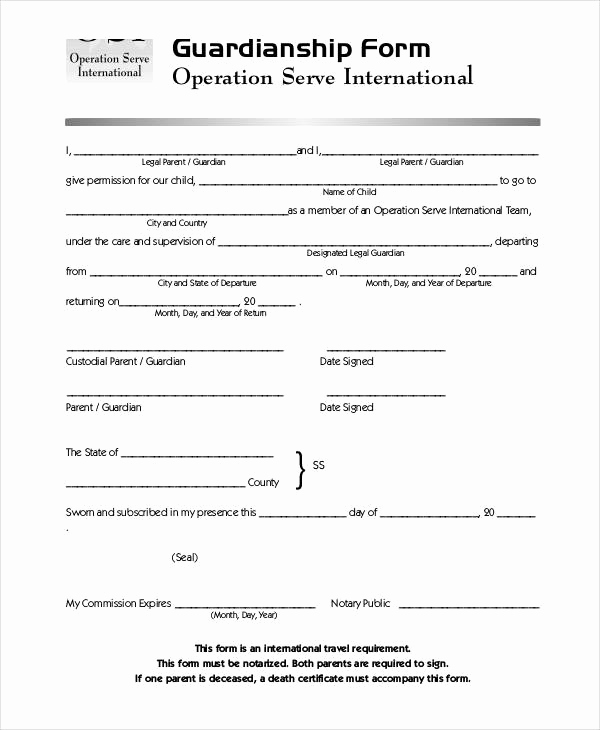 Free Printable Child Guardianship forms Inspirational Guardianship forms 9 Free Pdf Word