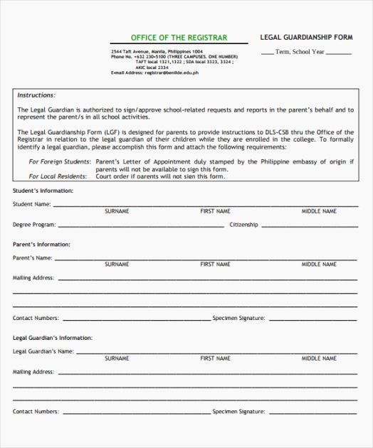 Free Printable Child Guardianship forms Inspirational Temporary Guardianship form