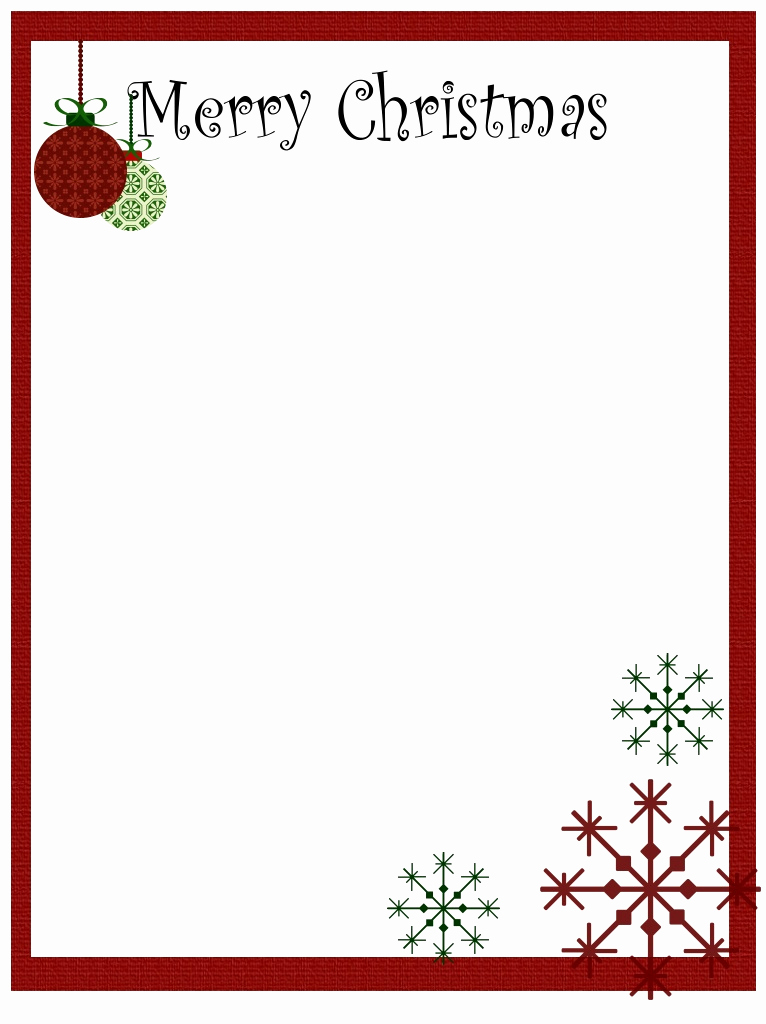 Free Printable Christmas Stationery Paper Lovely Borders for Stationary Printable