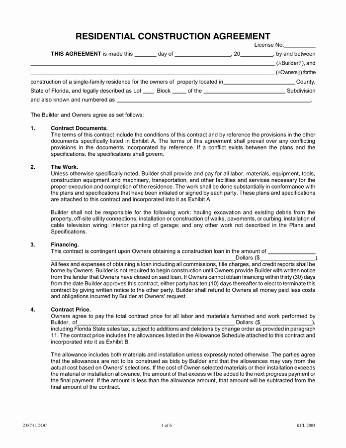 Free Printable Construction Contracts Awesome Residential Construction Agreement In Word and Pdf formats