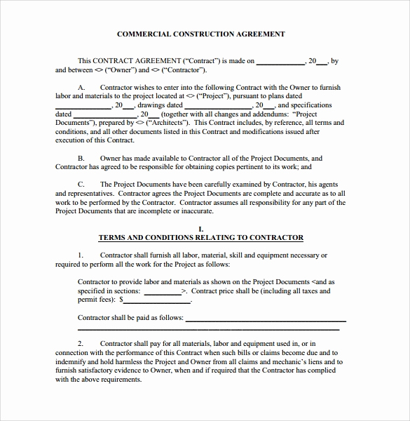 Free Printable Construction Contracts Best Of Construction Contract 9 Download Documents In Pdf