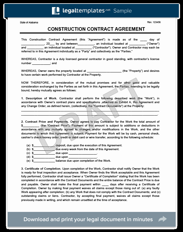 Free Printable Construction Contracts Best Of Create A Free Construction Contract Agreement