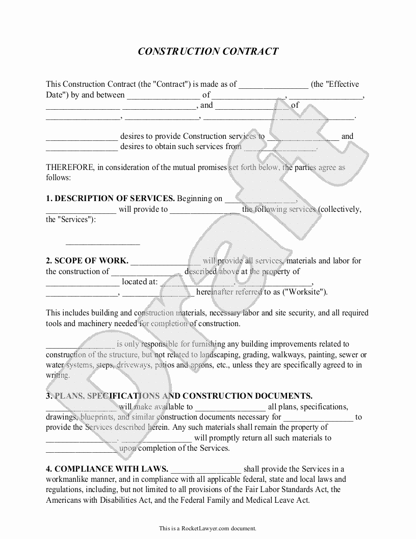 Free Printable Construction Contracts Inspirational Construction Contract Template Construction Agreement