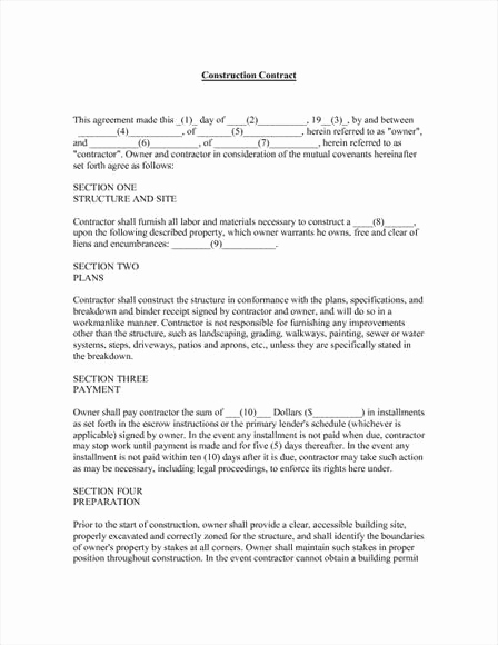 Free Printable Construction Contracts Inspirational Construction Contract Template
