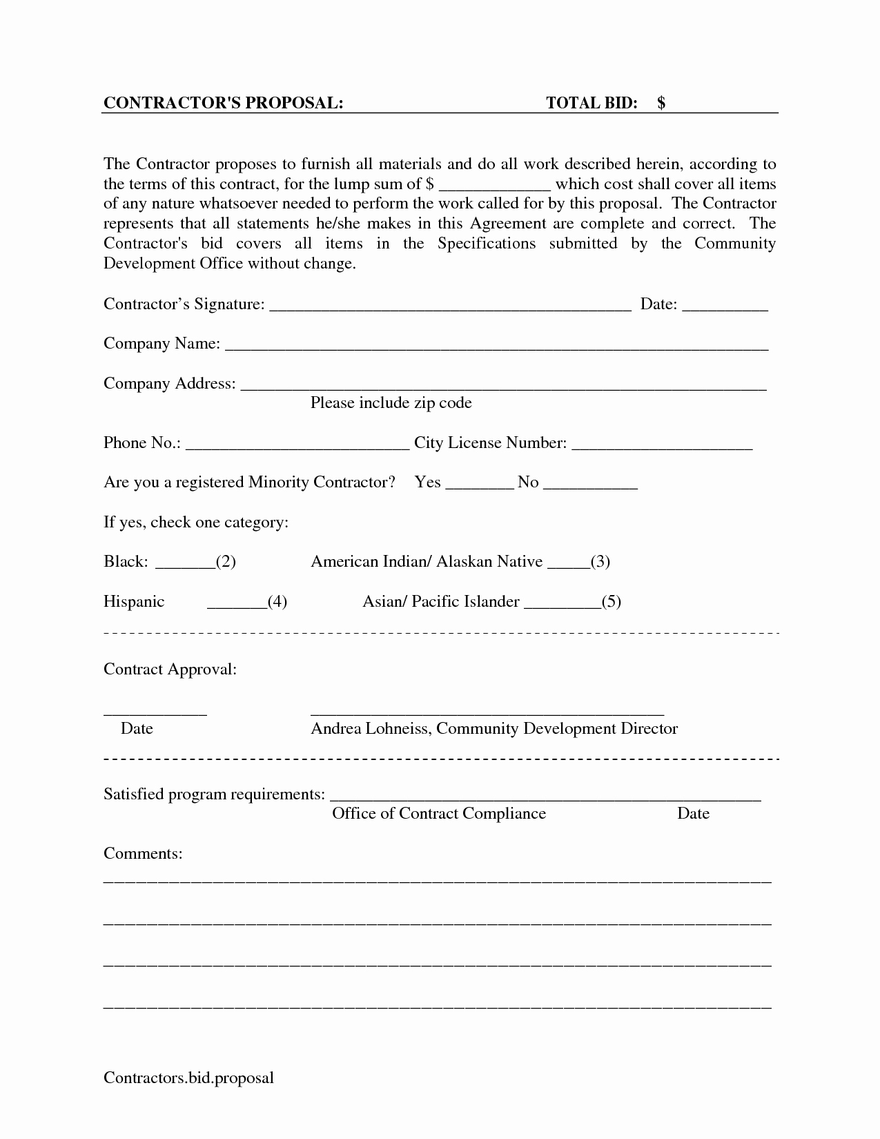 Free Printable Construction Contracts Lovely Printable Blank Bid Proposal forms