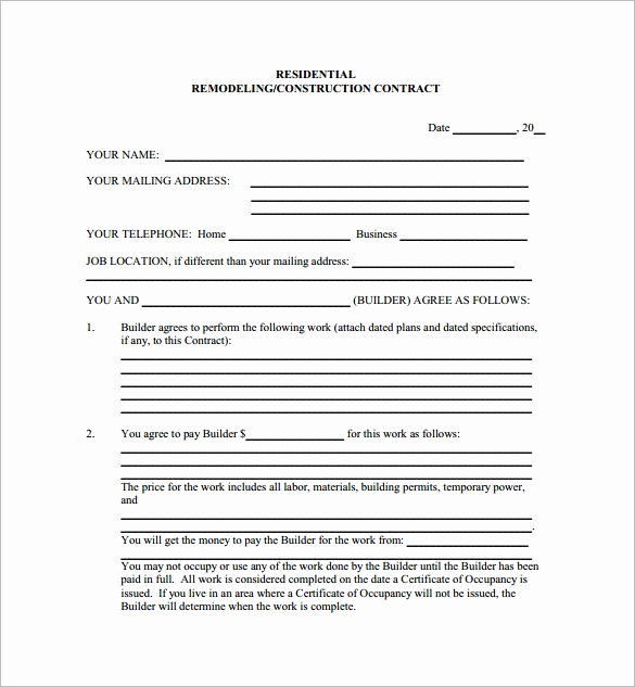 Free Printable Construction Contracts New 11 Home Remodeling Contract Templates to Download for Free